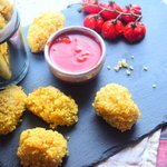 These healthy and delicious chicken nuggets make the perfect nutritious dinner. It's such an easy recipe to make and these baked goodies make a great healthy alternative to fried chicken nuggets.  They would taste great served as a delicious starter or you could serve with them with sweet potato or courgette fries and serve as a main.