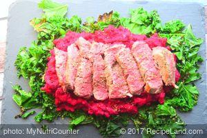 Steak with Beetroot Mash