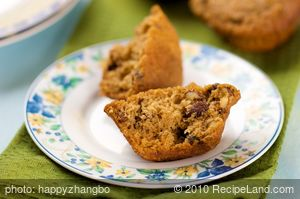 Whole Wheat Pumpkin, Raisin and Nut Muffins