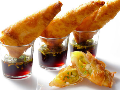 Vegetarian Curry Samosas with Tamarind Dip
