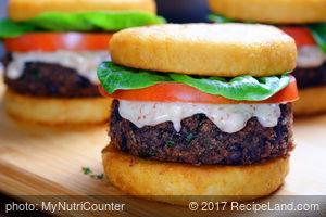 Smoky Black Bean Burgers on Potato Buns