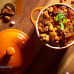 Beef chili with navy beans, one of our many easy chili recipes. Perfect for simmering on the stovetop or use your crock-pot for a slow-cooker chili recipe.