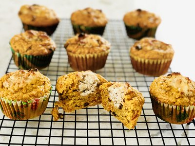 Carrot Muffins with Walnut-Cream Centers