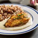 Chicken breasts in an easy garlic cream sauce with tangy goat cheese. Only 5 ingredients.