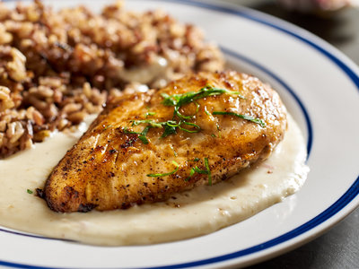 Chicken Breasts with Roasted Garlic-Chevre Sauce