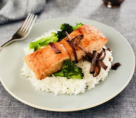 Brown Sugar and Soy Glazed Salmon with Broccoli Rice