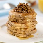 Buttermilk Whole Wheat Pancakes with Maple Nut Topping