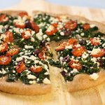 Spinach, Oven-Dried Cherry Tomato and Feta Pizza