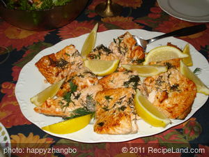 Dilled Salmon Steaks