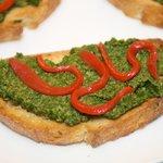 Spinach-Miso Pesto Crostini