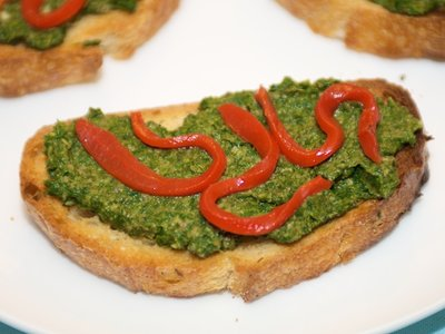 Spinach-Miso Pesto Crostini