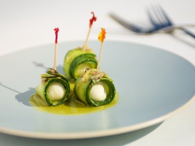 Marinated Zucchini and Bocconcini Parcels