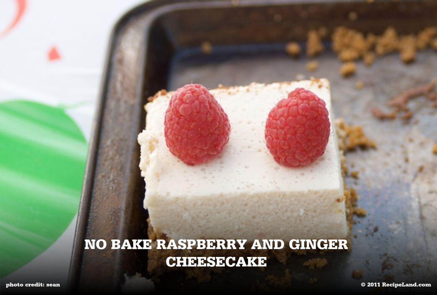 No Bake Raspberry and Ginger Cheesecake
