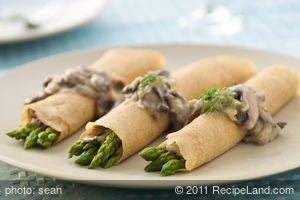 Asparagus Crepes with Mushroom Dill-Sauce