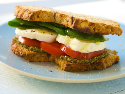 Basil Pesto, Fresh Mozzarella, Tomato and Spinach Sandwich