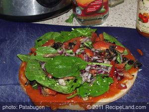 Pizza Time - Onion, Pepper & Spinach (with optional Mushrooms)