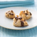 Strawberry Ricotta Phyllo Purses with Chocolate Syrup