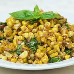 Roasted Corn with Basil Shallot Vinaigrette
