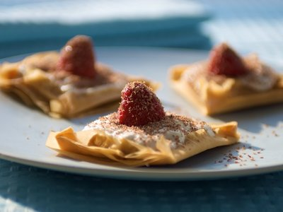 Strawberry Ricotta and Vanilla Sugar in Phyllo Squares