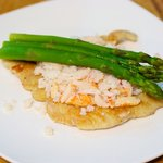 Top with 3 crunchy asparagus spears, lovely!