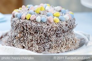 Easter Chocolate Cake with Chocolate Sour Cream Frosting