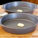 Grease cake pans