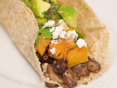 Pinta Bean and Butternut Tacos with Fresh Green Salsa
