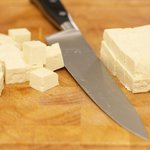 Cut tofu into about 1-inch cubes.