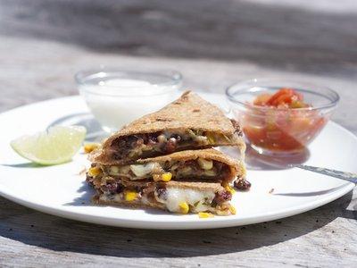 Cheesy Corn and Black Bean Quesadillas