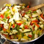 Stir in all the chopped vegetables...