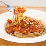 Delicious summer garden spaghetti sauce with pasta.