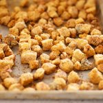 Bake at 350 F degrees for 15 to 20 minutes, and here are our delicious and crunchy croutons...