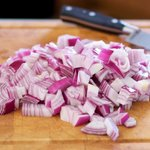 Now we have all the beautifully and coarsely chopped red onions...