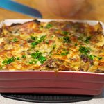 Sprinkle the lemon zest and herbs topping over the freshly baked casserole...
