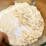 Add the flours, oats, baking soda, and salt in a large bowl...