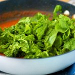 after simmering and concentrating flavors add the spinach