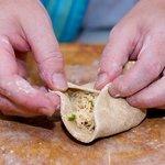 Fold edges up and over like a dumpling