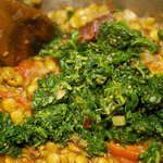 Add the cooked spinach to the dhal...
