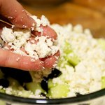 next add the crumbled feta cheese...