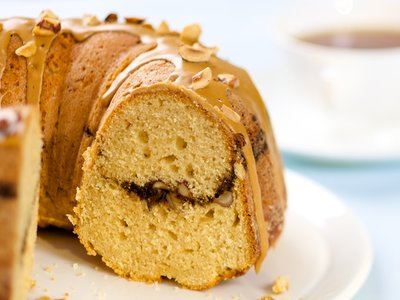 Coffee Streusel Bundt Cake with Coffee Glaze and Hazelnuts Topping