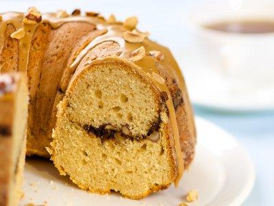 Coffee Streusel Bundt Cake with Coffee Glaze and Hazelnuts Topping