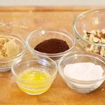 Start preparing the coffee streusel ingredients first...