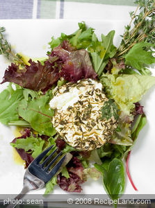 Warm Chévre and Apple Rings with Manitoba Hemp Seed Oil Vinaigrette