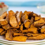 Golden and sweet oven baked sweet potato wedges