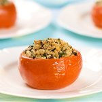 Stuffed Tomatoes with Goat Cheese, Olives and Fresh Oregano