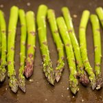 Brushed asparagus, ready to grill.