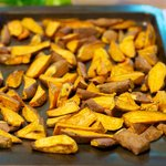The sweet potato wedges were just out of the oven.