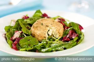 Arugula Salad Warm Goat Cheese with Black Olive Vinaigrette