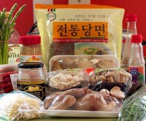 Mushrooms, Asparagus and Asian Chives Japchae