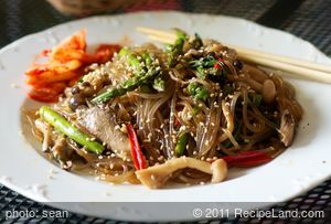 Mushrooms, Asparagus and Asian Chives Japchae